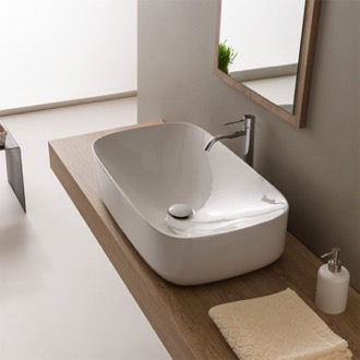 Bathroom Sink Oval White Ceramic Vessel Bathroom Sink Scarabeo 5502