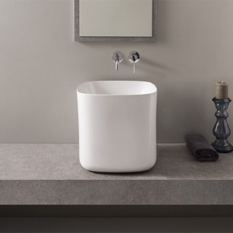 Bathroom Sink Round White Ceramic Vessel Bathroom Sink Scarabeo 5503