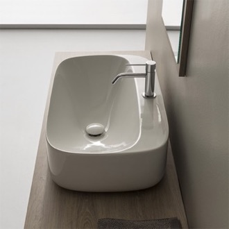 Bathroom Sink Oval White Ceramic Vessel Bathroom Sink Scarabeo 5505
