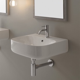 Bathroom Sink Round White Ceramic Wall Mounted Scarabeo 5507