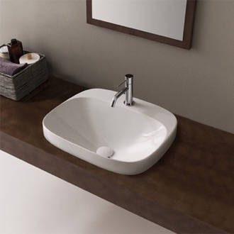 Bathroom Sink Round White Ceramic Drop In Sink Scarabeo 5511