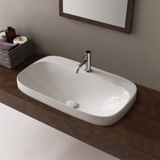Bathroom Sink Oval White Ceramic Drop In Sink Scarabeo 5512