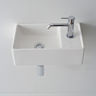 Bathroom Sink Square White Ceramic Wall Mounted or Vessel Sink Scarabeo 8031/R-41