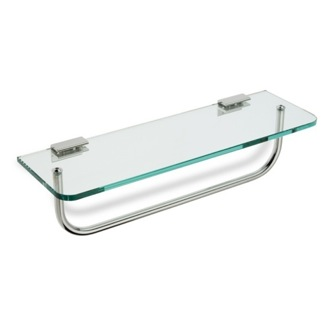 Bathroom Shelf Clear Glass Bathroom Shelf with Towel Bar StilHaus 764-08