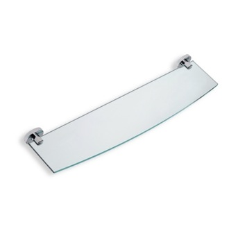 Bathroom Shelf Clear Glass Bathroom Shelf with Chrome Brass Holder StilHaus DI04-08