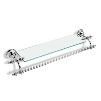 Bathroom Shelf 24 Inch Bathroom Shelf with Transparent Glass Pane and Towel Bar StilHaus EL33