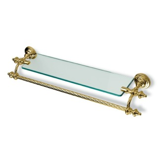 Bathroom Shelf Gold Classic-Style Clear Glass Bathroom Shelf with Towel Bar StilHaus G33-16