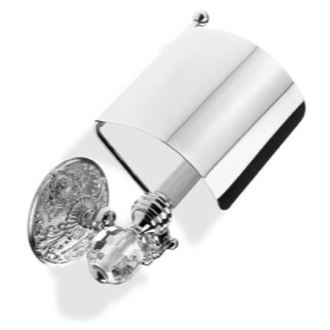 Toilet Paper Holder Luxury Toilet Roll Holder with Cover and Crystal Glass End Cap StilHaus NT11CV