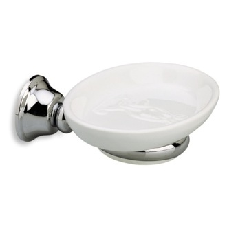 Soap Dish Wall Mounted Round White Ceramic Soap Dish with Brass Mounting StilHaus SM09