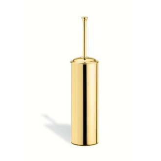 Toilet Brush Round Brass Toilet Brush Holder in Gold StilHaus SM039-16