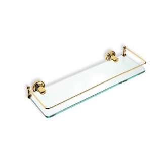 Bathroom Shelf Gold Clear Glass Bathroom Shelf StilHaus 766-16