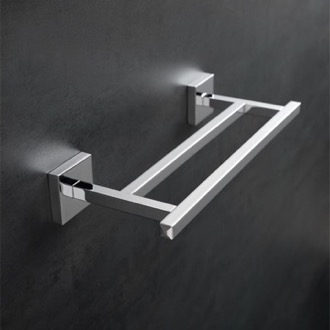 Double Towel Bar 12 Inch Square Double Towel Bar in Chrome StilHaus U06.2-08