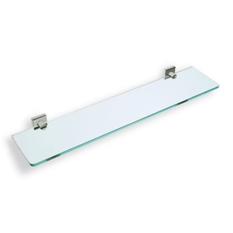 Bathroom Shelf Clear Glass Bathroom Shelf with Satin Nickel Brass Holder StilHaus U04-36