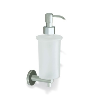 Soap Dispenser Satin Nickel Wall Mounted Frosted Glass Soap Dispenser with Brass Mounting StilHaus VE30-36