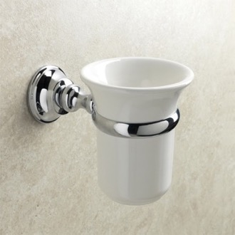 Toothbrush Holder Wall Mounted White Ceramic Toothbrush Holder with Brass Mounting StilHaus SM10