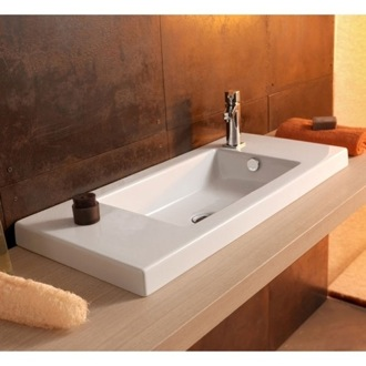 Bathroom Sink Rectangular White Ceramic Wall Mounted or Drop In Sink Tecla 3501011