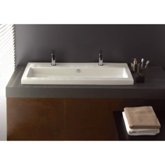 Bathroom Sink Rectangular White Ceramic Drop In or Wall Mounted Bathroom Sink Tecla 4003011B