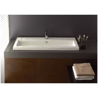 Bathroom Sink Rectangular White Ceramic Drop In or Wall Mounted Bathroom Sink Tecla 4004011A