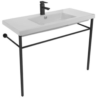 Bathroom Sink Ceramic Console Sink and Matte Black Stand Tecla CAN03011-CON-BLK