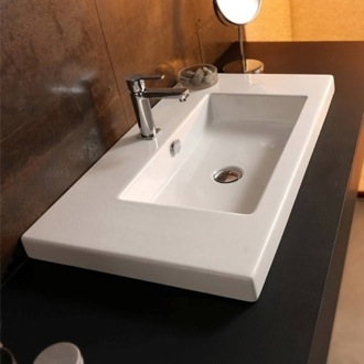 Bathroom Sink Rectangular White Ceramic Wall Mounted or Drop In Sink Tecla CAN03011