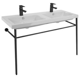 Bathroom Sink Double Ceramic Console Sink and Matte Black Stand Tecla CAN04011-CON-BLK