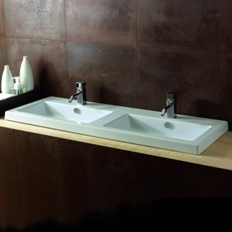 Bathroom Sink Rectangular White Double Ceramic Wall Mounted or Drop In Sink Tecla CAN04011
