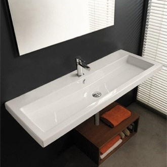 Bathroom Sink Rectangular White Ceramic Wall Mounted or Drop In Sink Tecla CAN05011A