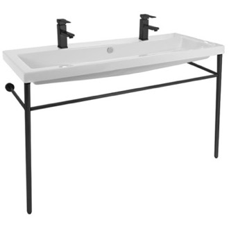 Bathroom Sink Double Ceramic Console Sink and Matte Black Stand Tecla CAN05011B-CON-BLK