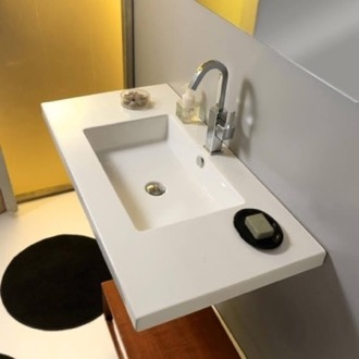 Bathroom Sink Rectangular White Ceramic Wall Mounted or Drop In Sink Tecla MAR03011