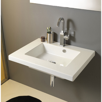 Bathroom Sink Rectangular White Ceramic Wall Mounted or Drop In Sink Tecla MAR01011