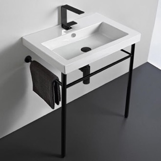 Bathroom Sink Ceramic Console Sink and Matte Black Stand Tecla CAN01011-CON-BLK