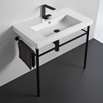 Bathroom Sink Ceramic Console Sink and Matte Black Stand Tecla CAN02011-CON-BLK