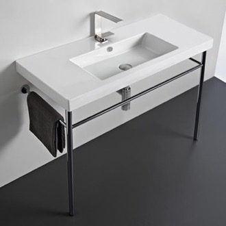 Bathroom Sink Rectangular Ceramic Console Sink and Polished Chrome Stand Tecla CAN03011-CON