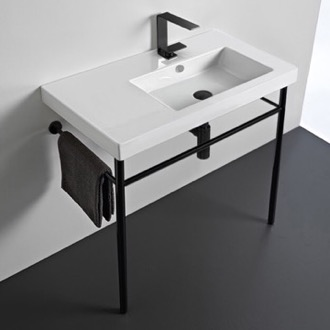 Bathroom Sink Ceramic Console Sink and Matte Black Stand Tecla CO01011-CON-BLK