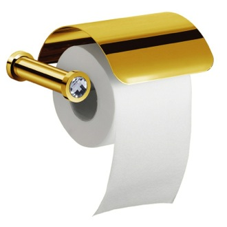 Toilet Paper Holder Gold Finish Toilet Roll Holder With Cover and White Crystal Windisch 85511OB