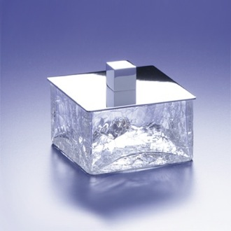 Bathroom Jar Square Crackled Crystal Glass Bathroom Jar Windisch 88127