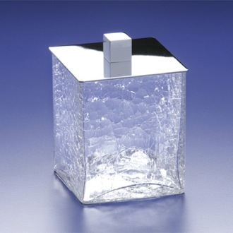 Bathroom Jar Square Crackled Crystal Glass Cotton Ball Jar Windisch 88129