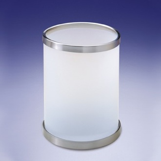 Waste Basket Round Frosted Glass Bathroom Waste Bin Windisch 89103M