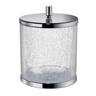 Waste Basket Round Crackled Glass Bathroom Waste Bin with Cover Windisch 89165-CR