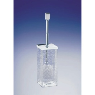 Toilet Brush Free Standing Crackled Glass Square Toilet Brush Holder With Cover Windisch 89231