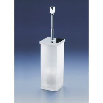 Toilet Brush Free Standing Frosted Glass Square Toilet Brush Holder With Cover Windisch 89231M