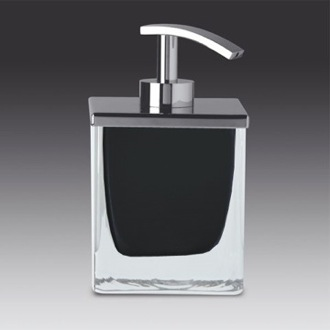Soap Dispenser Square Black or White Crystal Glass Soap Dispenser with Chrome Pump Windisch 90433