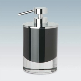 Soap Dispenser Round Black or White Crystal Glass Soap Dispenser with Chrome Pump Windisch 90435