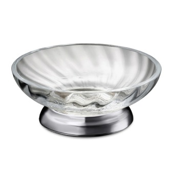 Soap Dish Twisted Glass Soap Dish With Chrome Base Windisch 92801CR