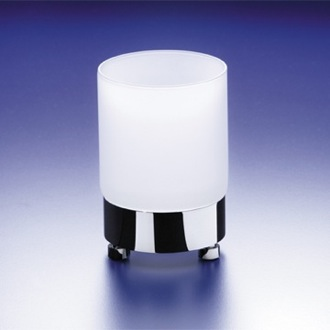 Toothbrush Holder Round Frosted Crystal Glass Tumbler Windisch 94118M