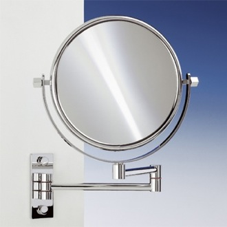 Makeup Mirror Brass Wall Mounted Extendable Double Face 3x, 5x, 5op, or 7xop Magnifying Mirror Windisch 99145