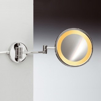 Makeup Mirror Wall Mount One Face Hardwired Lighted 3x or 5x Brass Magnifying Mirror Windisch 99153/2/D