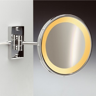 Makeup Mirror Wall Mount One Face Hardwired Lighted 3x or 5x Brass Magnifying Mirror Windisch 99157/1/D