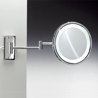 Makeup Mirror Wall Mounted Round Lighted Hardwired Brass 3x or 5x Magnifying Mirror Windisch 99187/D
