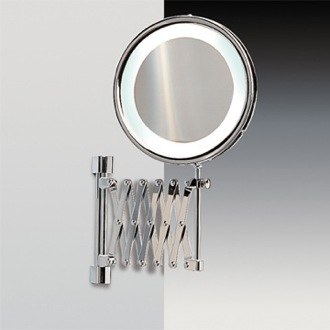Makeup Mirror Wall Mounted Brass Extendable Lighted 3x or 5x Magnifying Mirror Windisch 99188